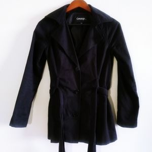 George Woman Black Trench Coat Buttons Small